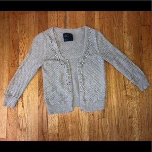AMERICAN EAGLE GRAY SWEATER Bling 3/4 Sleeves - S